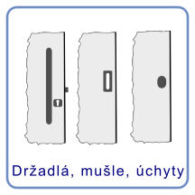 Držadlá, mušle a úchyta na dvere